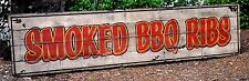 Smoked BBQ Ribs Sign - Rustic Hand Made Vintage Wooden Sign
