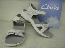 Clarks Sandals for Women Wave Edge T TY White Leather Casual
