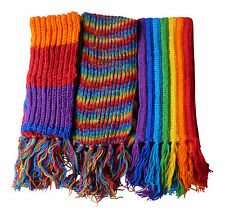 FAIR TRADE NEPALESE HIPPY BOHO RAINBOW WOOL STRIPED FESTIVAL SCARF - 3 STYLES