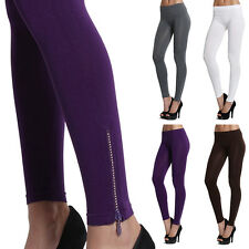 MOGAN Embellished Zip Ankle Stretch PULL ON LEGGINGS Skinny Fit Footless Tights