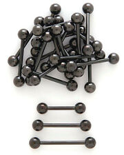"14g 1/2"" 5/8""  Black Anodized Titanium Tongue Barbell Nipple Ring"