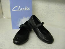Clarks Girls SALE Dollyglitz Inf Black Leather Velcro Strap School Shoes