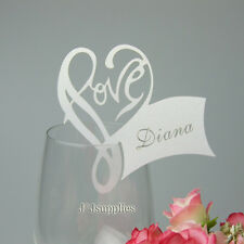 Laser Love heart Name place cards Wine Glass Card for Wedding,Birthday,Free ship