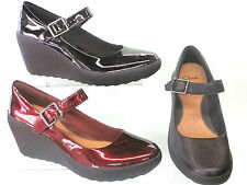 LADIES CLARKS LEATHER WEDGE HEELED BAR CASUAL / WORK SHOES FLAKE BERRY 3 COLOURS