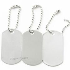 100 BLANK STAINLESS STEEL DOG TAGS SHINY/MATTE MILITARY SPEC WITH/OUT KEY TAG