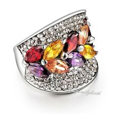 Crystal Colorful Wide Ring Cocktail 18K White Gold GP Women Gift R465
