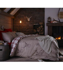 Catherine Lansfield Stag Highland Reversible Check Cotton Rich Easycare Bedding