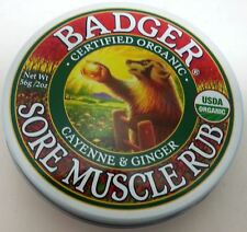 Badger Certified Organic Natural Sore Muscle Rub Balm Cayenne & Ginger 2 Sizes