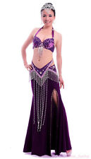 Professional Performance Belly Dance Costume Suit Bra&Belt&Skirt 32-34B/C 36B/C