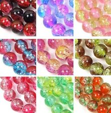 50 Czech Glass Crackle Cracked Round Beads 8mm - choose color 16""