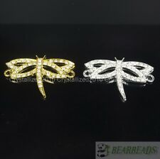 Side Ways Crystal Rhinestones Pave Dragonfly Bracelet Connector Charm Beads Pick