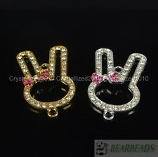 Side Ways Crystal Rhinestones Pave Lovely Rabbit Bracelet Connector Charm Beads