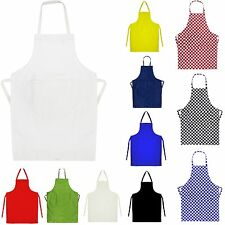 School Plain Apron Cooking Crafts Painting Lab Front Pocket