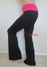 Black Cotton-Spandex Yoga Stretch Athletic Gym Pants With Fold Over Waist