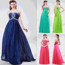 Beaded Prom Bridesmaid Wedding Party Gown Formal Evening Chiffon Dress Size 6-20