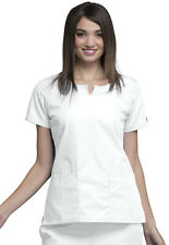 White Cherokee Workwear Round Neck Scrub Top 4824 WHTW