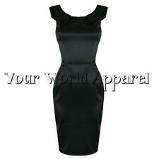 H&R LONDON 5135 BLACK SATIN PENCIL WIGGLE DRESS EVENING ROCKABILLY PARTY  PROM