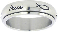"STAINLESS STEEL ""true love waits"" PURITY ABSTINENECE SPIN RING WITH ICHTHUS"