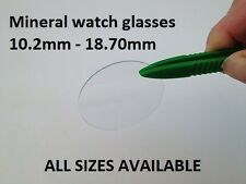 10.2mm - 18.70mm Flat Beveled edge watch wrist crystal mineral glass 1mm thick