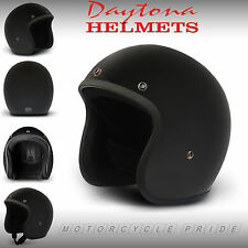 Flat Black Open Face Helmet - Matte 3/4 Motorcycle Helmet -  All Size by Daytona