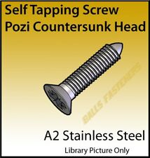 No.4, 6, 8 & 10 Pozi Countersunk Head AB Self Tapper Screws A2 Stainless Steel