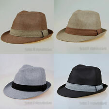 J2R New Mens Natural Fedora Trilby Stylish Dandy Fedora Hats Large Size 4 Colors