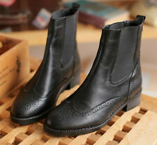 WOMENS Elasticated BROGUE LOW HEELS RIDING ANKLE BOOTS FLATS SHOES BLACK BROWN