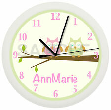PERSONALIZED PINK NURSERY OWL WALL CLOCK TREE BEDDING THEME GIRLS BEDROOM