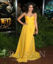 See Through Net Back Sexy Yellow Red Carpet Gown Celebrity Formal Evening Dress