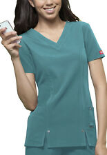 Teal Dickies Junior Fit  Xtreme Stretch V Neck  Scrub Top 82851 DTLZ
