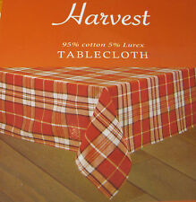 """HARVEST"" ORANGE PLAID CLOTH TABLECLOTH- FASHIONABLE- 60 x 84"