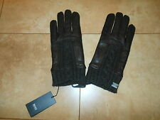 Hugo Boss Brown Leather Wool Gloves S M, L, 8.5, 9, 9.5 Warm Lined Gloves
