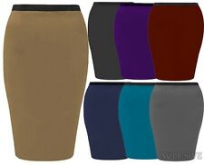 New Womens Plus Size Jersey Stretch Midi Bodycon Pencil Casual Skirts