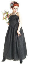 Eternal Love Gothic Medieval Black Taffeta Lace Ball Gown Party Dress XS S M L