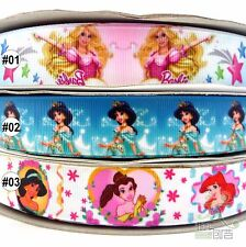 """22mm(7/8"""") Mixed Princess Grosgrain Ribbon Lot Bow 5 Yards Craft For Hairbow"""
