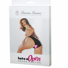 Black Latex Rubber Crotchless Panties Sharon Sloane Open Crotch Knickers S/M/L