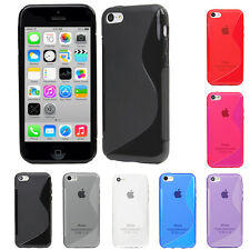 Evecase S-Shape Line Wave TPU Gel Soft Skin Back Cover Case For Apple iPhone 5C