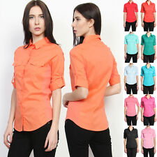 MOGAN Flap Pocket Rolled-Sleeve Ribbed Panel SHIRTS Button Down Slim Blouse Top