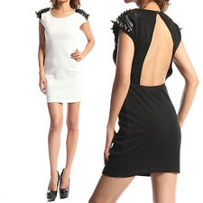 TheMOGAN Open Back SPIKE SLEEVELESS DRESS Leather Accent Bodycon Mini Club Party