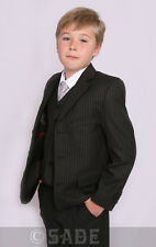 Boys Suit Black Pinstripe Autumn / Winter Weddings Age 1-13 Years Jasper New