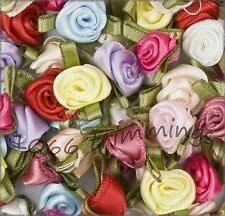 Roses Assorted Colours Small or Large Satin Ribbon Rose Buds 100