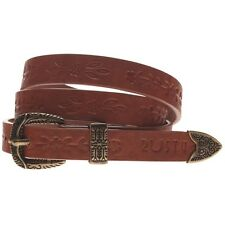 RUSTY New Womens Ladies Embossed Belt Brown DAINTY Size - S M L