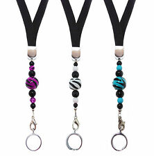 Black Lanyard w/Zebra Bead for ecigarettes - 3 Colors Available