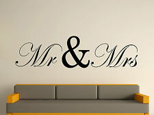 Mr And Mrs Decorative Wall Art Sticker Text/Image 3 Sizes 30 Colours