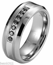 Black Diamond Tungsten Carbide Men's Wedding Ring Band 8mm classic engagement