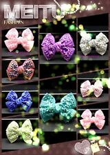 SMALL BUTTERFLY girls kids hair bow beaded diamante glitter shiny crystal clip