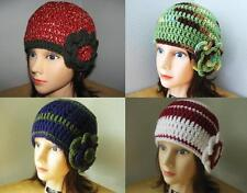 RED Green BLUE Brown WHITE Olive HANDMADE Crochet CLOCHE HATs & ROSE PiNs Knit
