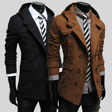 Men Trench Coat Slim Winter Hooded Long Jackets Outwear Double Breasted Overcoat