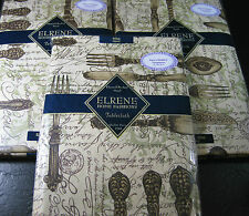 """FLANNEL-BACKED VINYL TABLECLOTHS BY ELRENE-""""DINING  """" ASSORTED SIZES - NEW"""