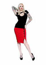 Steady Clothing Red Sarina Button Slit Skirt Pinup 1950's Punk Vintage Retro